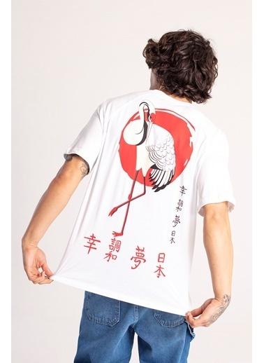 XHAN Siyah Önü & Arkası Baskılı Oversize T-Shirt 1Kxe1-44663-02 Beyaz